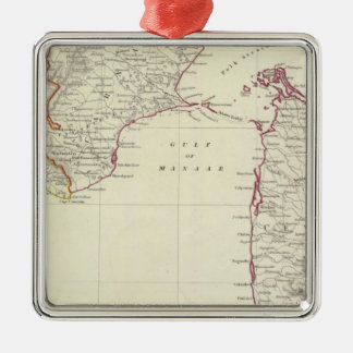 Indien I und Ceylon Quadratisches Silberfarbenes Ornament