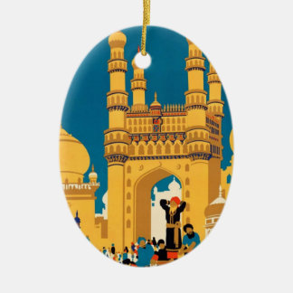 Indien-Reise-Plakatverzierung Ovales Keramik Ornament