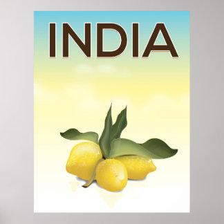 Indien-Zitronenreiseplakat Poster