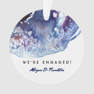 Indigo-Blauwatercolor-moderne Hochzeit/Verlobung Ornament