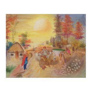 Indische Dorfmorgen Holzdruck