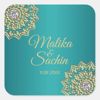 Indische Mandala-Blumen-aquamarines blaues Quadratischer Aufkleber