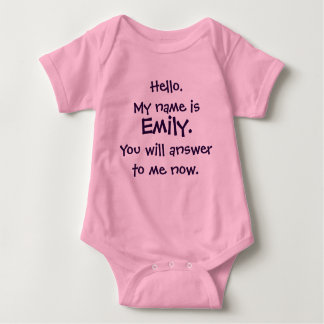 "Individueller Name ""Antwort zu mir"" lustiger Baby Strampler"