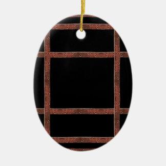 Industrielles Eisen-Gitter Ovales Keramik Ornament