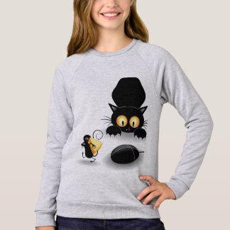 Infantiler Moletom weibliche Katze und Maus Sweatshirt