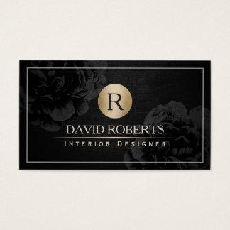 Innenarchitektur-Goldmonogramm-nobles schwarzes Visitenkarten