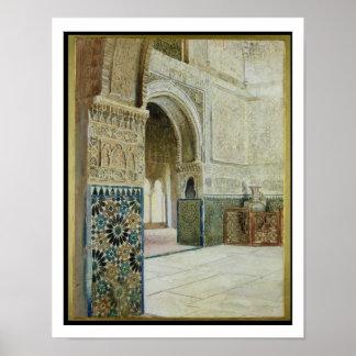 Innenraum des Alhambras, Granada (w/c) Poster
