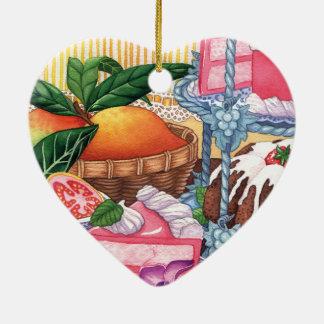 Insel-Café - Guave-Chiffon- Wüste Keramik Herz-Ornament