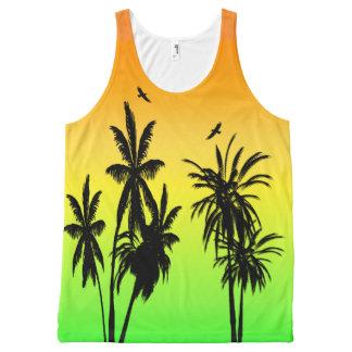 Insel-Paradies-tropischer Palme-Sonnenuntergang Komplett Bedrucktes Tanktop