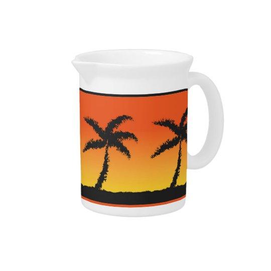 Insel-Sonnenuntergang Getränke Krüge
