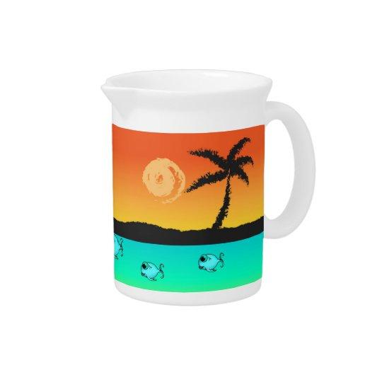 Insel-Sonnenuntergang Getränke Pitcher