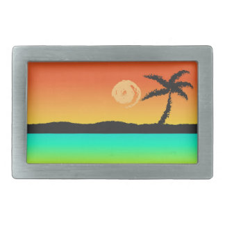 Insel-Sonnenuntergang Rechteckige Gürtelschnallen