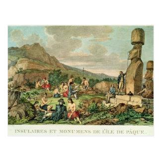 Inselbewohner und Monumente von Osterinsel Postkarte