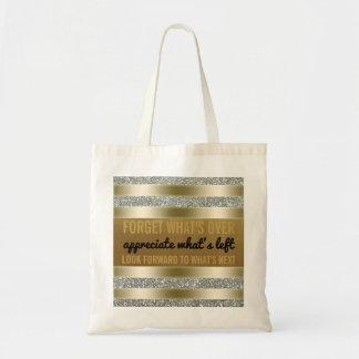 Inspirierend Typografie-Goldsilber des Zitat-| Tragetasche