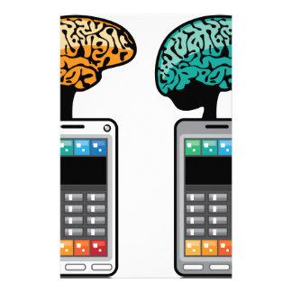 Intelligentester Telefonvektor mit einem Gehirn Personalisiertes Büropapier