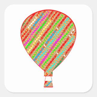 Intensive Farbkünstlerische Streifen-Ballone Quadratischer Aufkleber