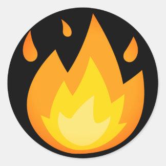 Intensives Feuer Emoji Runder Aufkleber