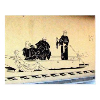 Interlaken, Wandgemälde von Mönchfischerei Postkarte