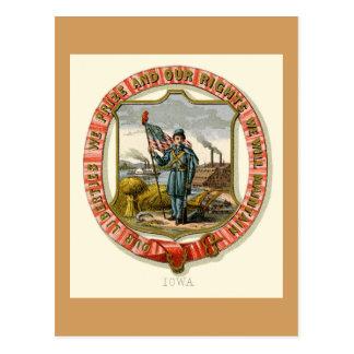 Iowa, das der Staat bewaffnet (1876) Postkarte