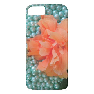 iPhone 8/7 orange Hibiskus auf Perlen iPhone 8/7 Hülle