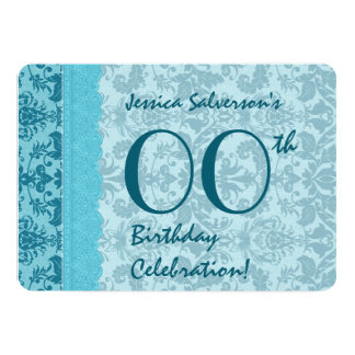 IRGENDEIN JAHR Geburtstags-Aqua-Damast A01 12,7 X 17,8 Cm Einladungskarte