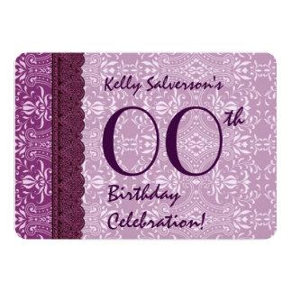 IRGENDEIN JAHR Geburtstags-Beeren-lila Damast A02 12,7 X 17,8 Cm Einladungskarte