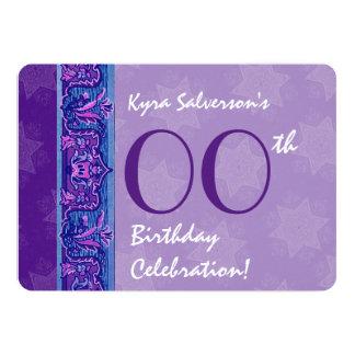 IRGENDEIN JAHR Geburtstags-lila Kunst-Deko und 12,7 X 17,8 Cm Einladungskarte