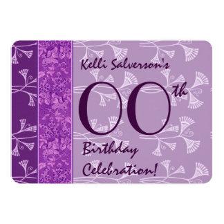 IRGENDEINE JAHR Geburtstags-lila Kunst Nouveau A03 12,7 X 17,8 Cm Einladungskarte