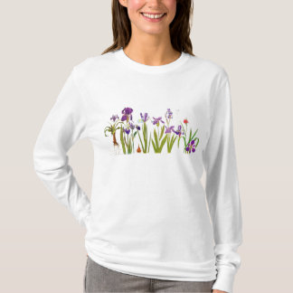 Iris-Blumen-Blumengarten-botanische Spitze T-Shirt
