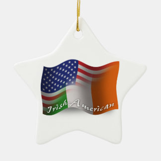 Irisch-Amerikanische wellenartig bewegende Flagge Keramik Stern-Ornament