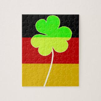 Irischer deutscher Flaggen-Kleeblatt-Klee-St- Puzzle