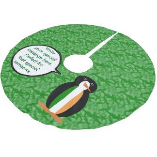 Irischer Feiertags-Herr Penguin Polyester Weihnachtsbaumdecke