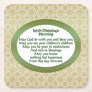 Irischer Heirat-Segen, Gold u. grüne Hochzeit Rechteckiger Pappuntersetzer