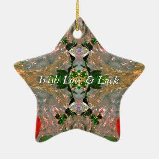 Irisches Glück u. Liebe Keramik Stern-Ornament