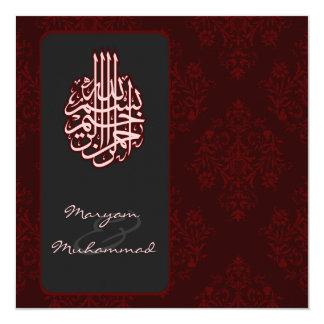 Islamische rote königliche bismillah quadratische 13,3 cm einladungskarte