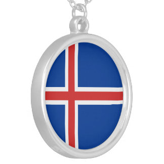 Island-Flagge Versilberte Kette