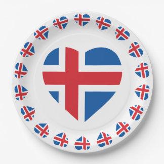 ISLAND-HERZ-FORM-FLAGGE PAPPTELLER