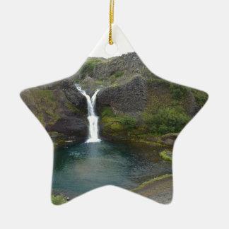 Island Wasserfall Keramik Stern-Ornament