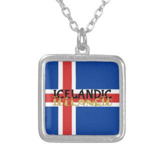 Isländische Flagge des Pferd| von Island Versilberte Kette