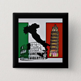 Italien - Flagge, Silhouette, Turm und Colosseum Quadratischer Button 5,1 Cm