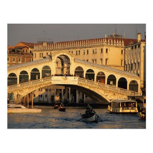 Italien, Venetien, Venedig, Kanal groß und Rialto Postkarte