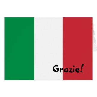 Italienische Flagge danken Ihnen Mitteilungskarte
