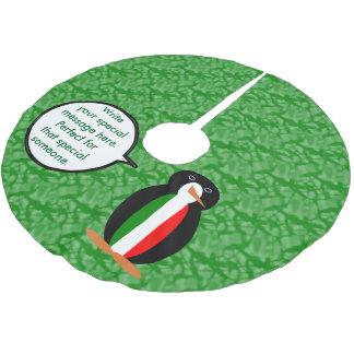 Italienischer Feiertags-Herr Pengiun Polyester Weihnachtsbaumdecke