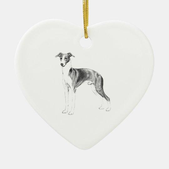 Italienischer Windhund-Art Keramik Herz-Ornament