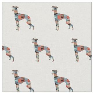 Italienischer Windhund-HundeSilhouette mit Ziegeln Stoff