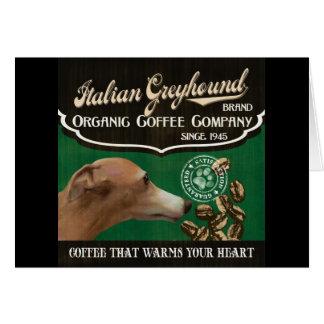 Italienischer Windhund-Marke - Organic Coffee Karte