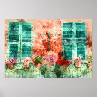 Italienisches Fenster mit offenen hölzernen Poster