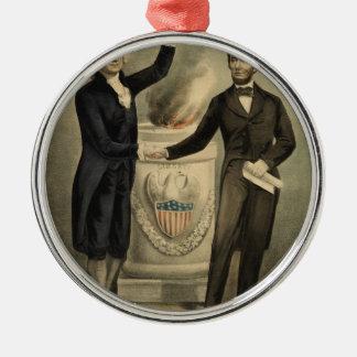 Ives Porträt von Washington und von Lincoln Silbernes Ornament