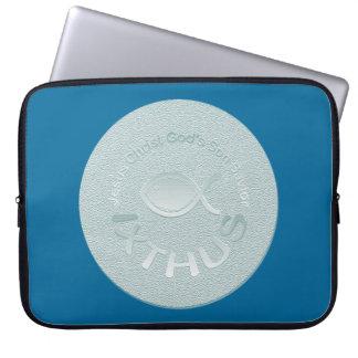 IXTHUS christliches Fisch-Symbol - SILBER Laptop Sleeve
