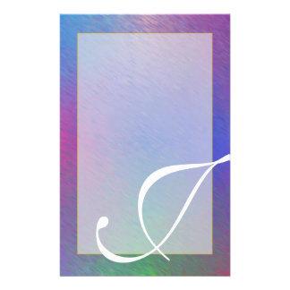 """J-Monogramm-""""blauer Regen-"""" unliniertes Briefpapier"""